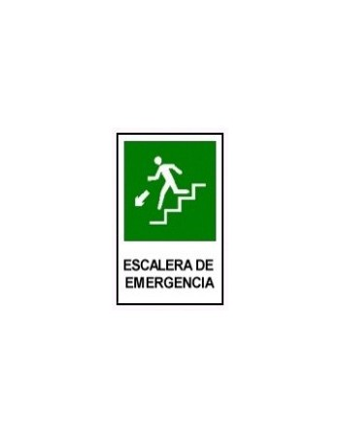 Letrero Escalera de Emergencia 20X15cm D/IZ